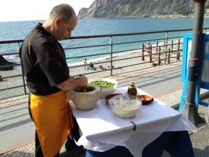 Fresh Pesto in the Making in the Cinque Terre