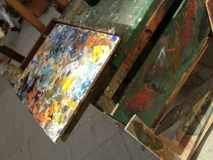 Artist Palette and Easel in the Cinque Terre